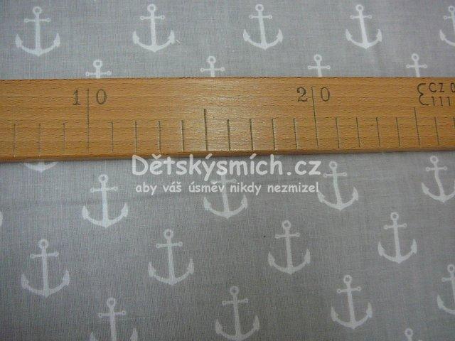 METRÁŽ Bavlna 160 cm - ŠEDÁ kotva námořník  ME-3387  a6cd9a8a18